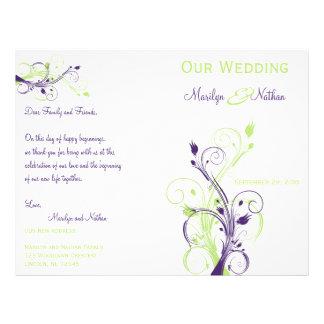 Programa floral roxo, verde, e branco do casamento