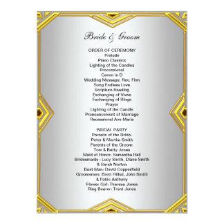 Programa formal do casamento convite 16.51 x 22.22cm