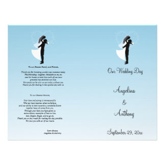 Programa formal do casamento da silhueta azul de O Panfleto Personalizados