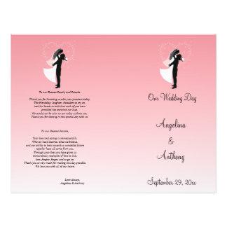 Programa formal do casamento da silhueta cor-de-ro panfletos personalizados