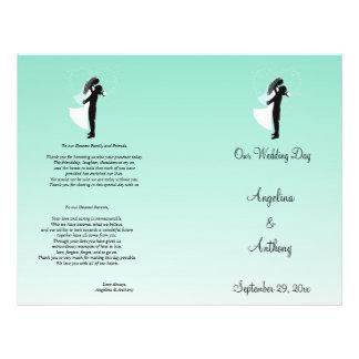 Programa formal do casamento da silhueta de Ombre  Panfletos Coloridos
