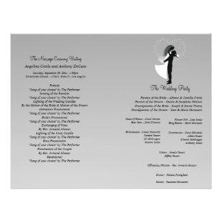 Programa formal do casamento da silhueta de prata  modelo de panfleto