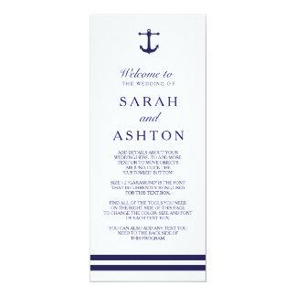 Programa náutico do casamento do marinho convite 10.16 x 23.49cm