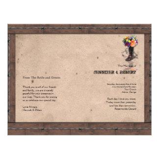 Programa ocidental do casamento do arame farpado panfletos personalizados