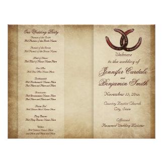 Programa ocidental do casamento do país em panfletos