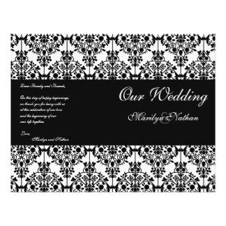 Programa preto e branco do casamento tema damasco flyer 21.59 x 27.94cm