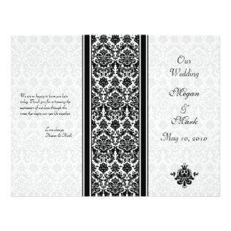 Programa preto e branco do casamento tema damasco panfleto