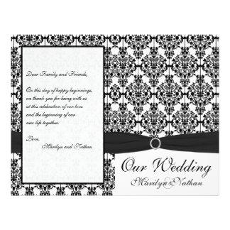 Programa preto e branco do casamento tema damasco