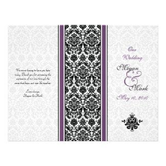 Programa roxo do casamento tema damasco da beringe panfletos personalizado