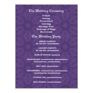 Programa roxo e azul do casamento convite personalizado