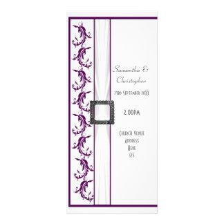 Programa roxo e branco liso do casamento da igreja 10.16 x 22.86cm panfleto