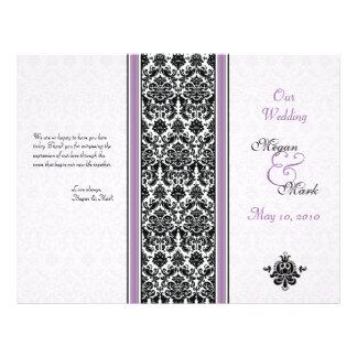 Programa roxo e preto do casamento tema damasco flyer 21.59 x 27.94cm