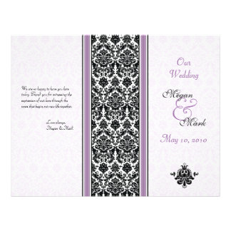Programa roxo e preto do casamento tema damasco panfletos