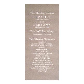 Programa rústico do casamento de Kraft do país 10.16 X 22.86cm Panfleto