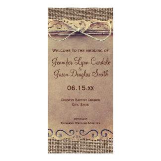 Programa rústico do casamento de serapilheira do 10.16 x 22.86cm panfleto