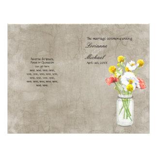 Programa rústico do casamento do buquê do frasco d panfleto personalizados
