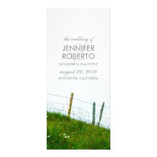 Programa rústico do casamento do cargo da cerca 10.16 x 22.86cm panfleto
