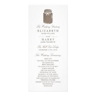 Programa rústico do casamento do frasco de 10.16 x 22.86cm panfleto