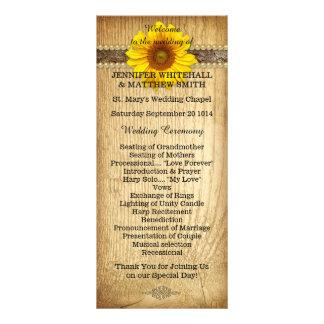 Programa rústico do casamento do girassol do país 10.16 x 22.86cm panfleto