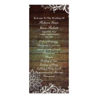 programa rústico do casamento do laço do barnwood 10.16 x 22.86cm panfleto
