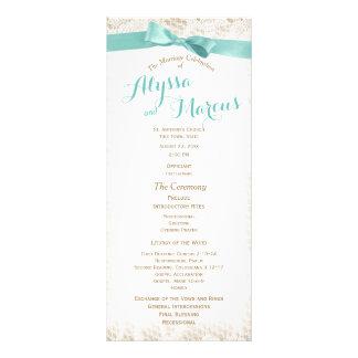 Programa rústico encantador do casamento do laço 10.16 x 22.86cm panfleto