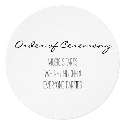 Programa simples e engraçado do casamento convites personalizados