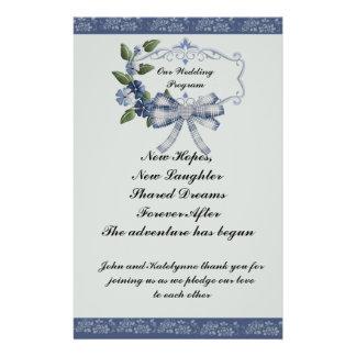 Programa sofisticado azul do casamento do país flyer 13.97 x 21.59cm