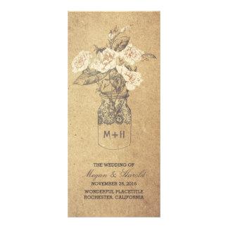 programa velho do casamento do vintage rústico do 10.16 x 22.86cm panfleto