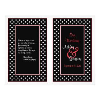 Programa vermelho do casamento da guarnição das bo panfleto personalizado