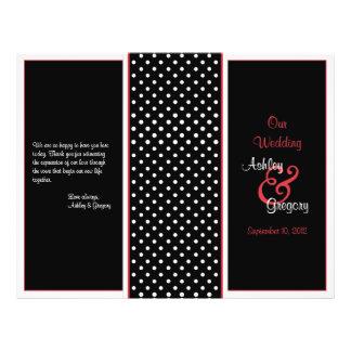 Programa vermelho preto e branco do casamento da