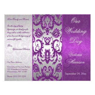 Programa Wedding do damasco II de prata e roxo Flyer 21.59 X 27.94cm