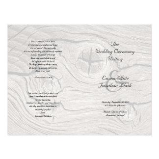 Programa Wedding dobrado da cerimónia madeira cató Modelo De Panfleto