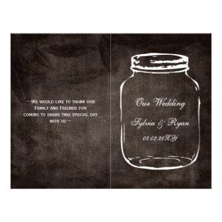 programa Wedding dobrado rústico do frasco de Panfleto