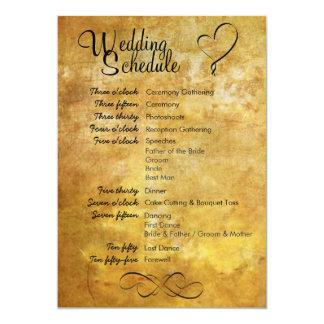Programação antiga do casamento do estilo convite 12.7 x 17.78cm