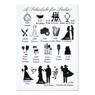 Programação de Itenerary do casamento para damas Convite 12.7 X 17.78cm