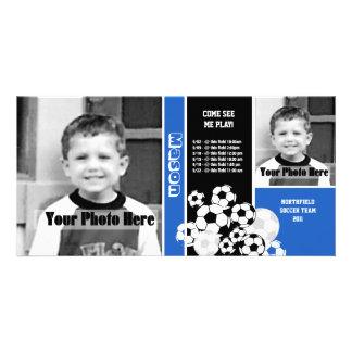 Programação do esporte do futebol cartão com foto