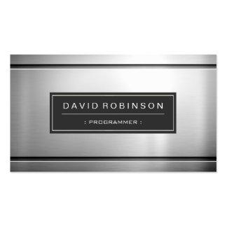 Programador - metal de prata superior modelo cartão de visita