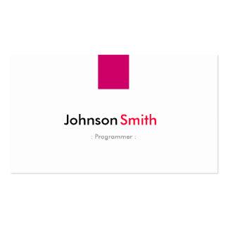 Programador - rosa cor-de-rosa simples cartão de visita