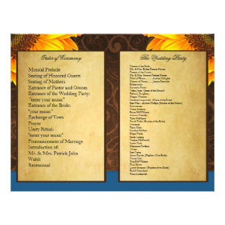 Programas azuis da cerimónia de casamento do giras panfleto personalizado