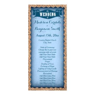 Programas azuis do casamento de serapilheira 10.16 x 22.86cm panfleto