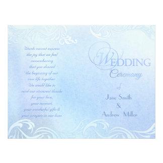 Programas azuis do casamento panfleto personalizado