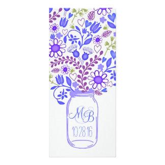 programas azuis florais rústicos do casamento do 10.16 x 22.86cm panfleto