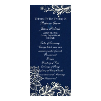 programas brancos modernos do casamento dos azuis 10.16 x 22.86cm panfleto