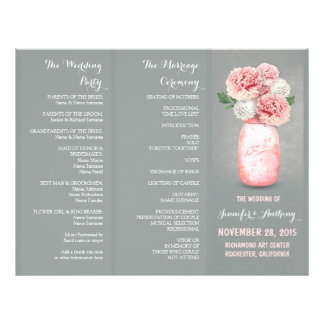 Programas cinzentos pintados do casamento do rosa  panfleto coloridos
