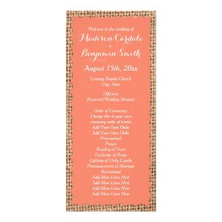 Programas corais do casamento do pêssego de 10.16 x 22.86cm panfleto