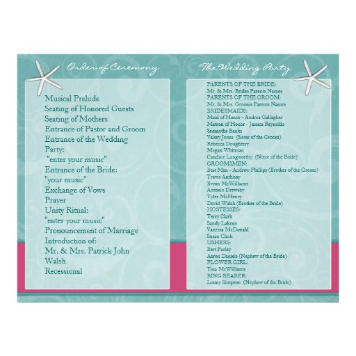 Programas da cerimónia de casamento da praia do Aq Modelos De Panfleto