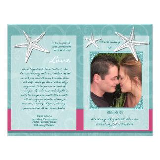 Programas da cerimónia de casamento da praia do modelos de panfleto
