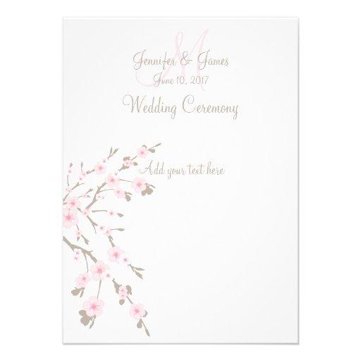 Programas da igreja do casamento da flor de cereje convites