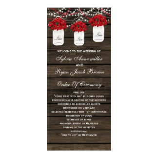 Programas de madeira do casamento do frasco de panfleto