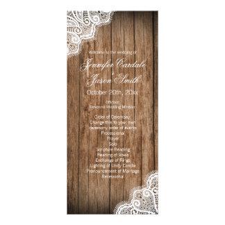 Programas de madeira do casamento do laço do 10.16 x 22.86cm panfleto